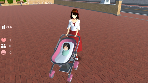 樱花校园模拟器婴儿车怎么坐