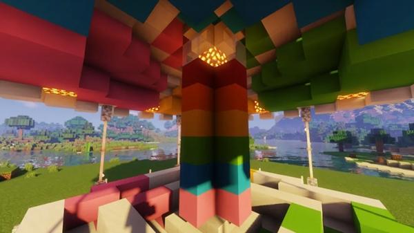 我的世界彩虹旋转木马